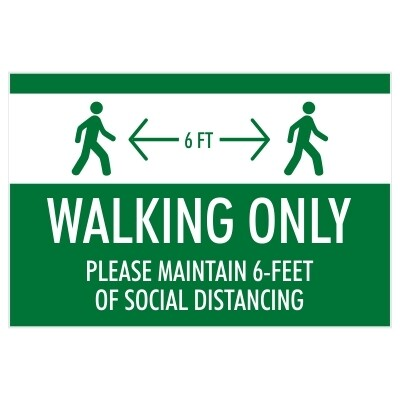 Walking Only, Please Maintain 6' of Separation at All Times - Sign