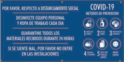 Covid-19 Prevention Measures, 5 Steps - Spanish Banner