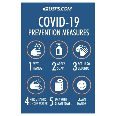 Covid-19 Prevention Measures, 5 Steps - USPS Sign