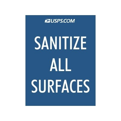 Sanitize All Surfaces - USPS Sign