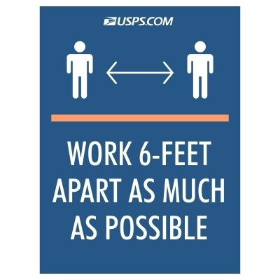 Work 6-Feet Apart as Much as Possible - USPS Sign