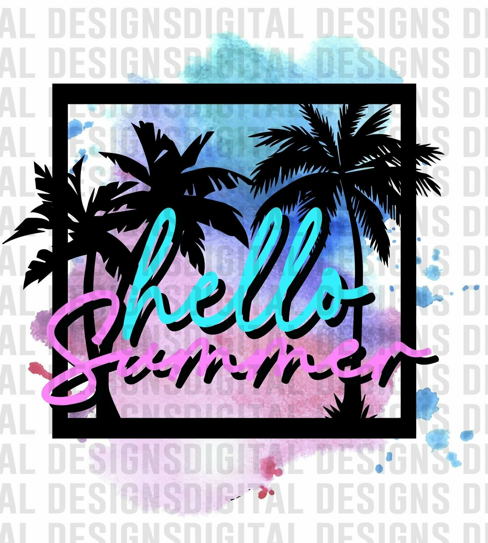 Hello Summer sublimation design - Sublimation design - Sublimation - DTG printing - Sublimation design download - Summer sublimation design