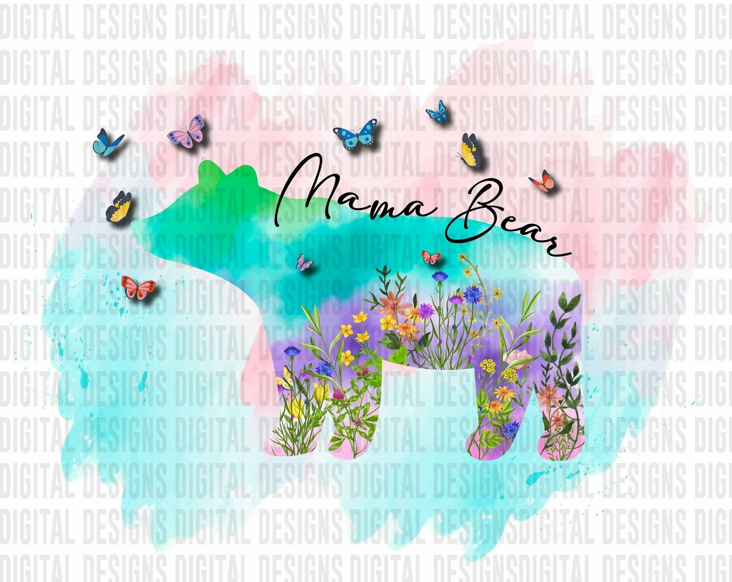 Mama Bear Floral with Butterflies