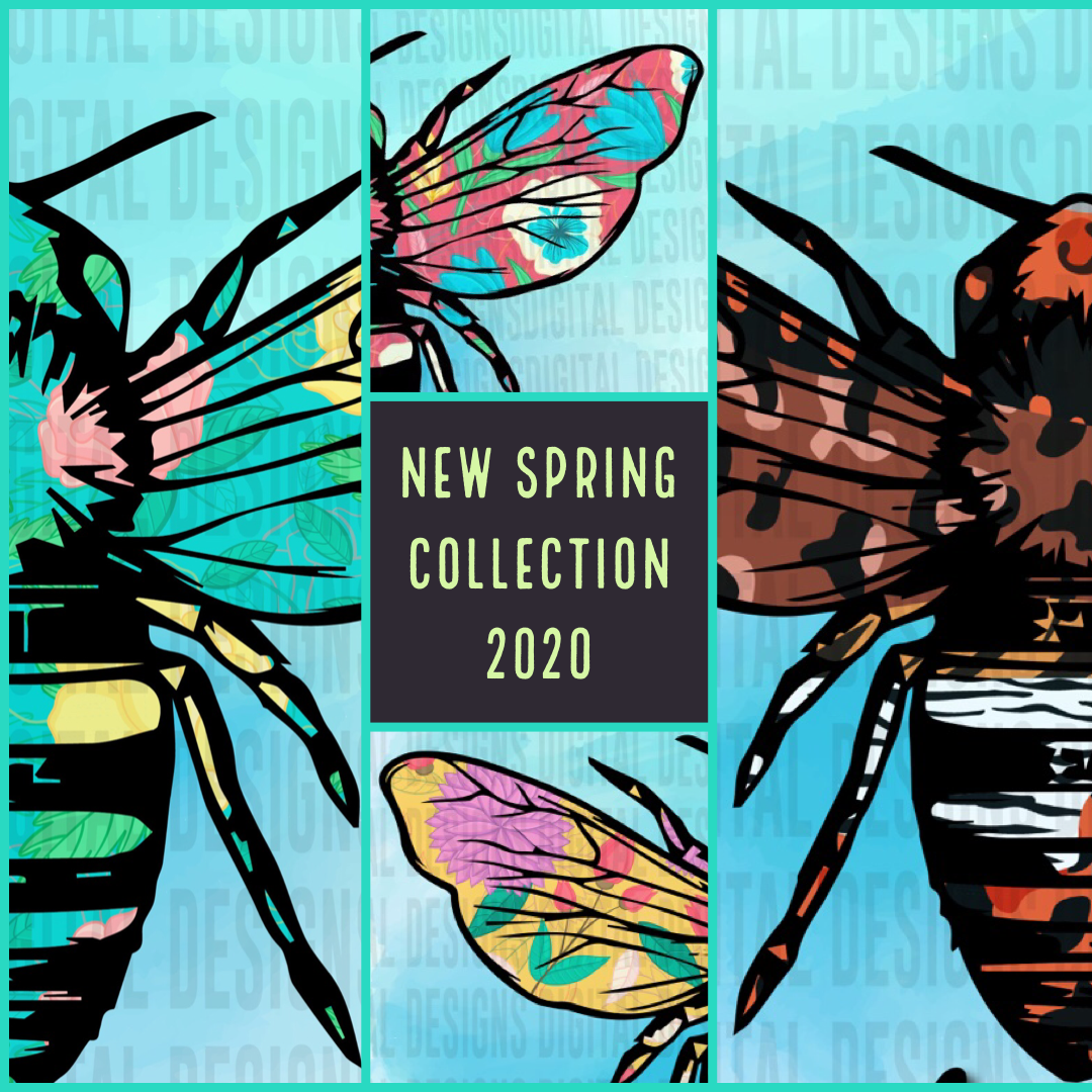 Bee Spring 2020 Spring Collection 4 PATTERNS - PNG SUBLIMATION