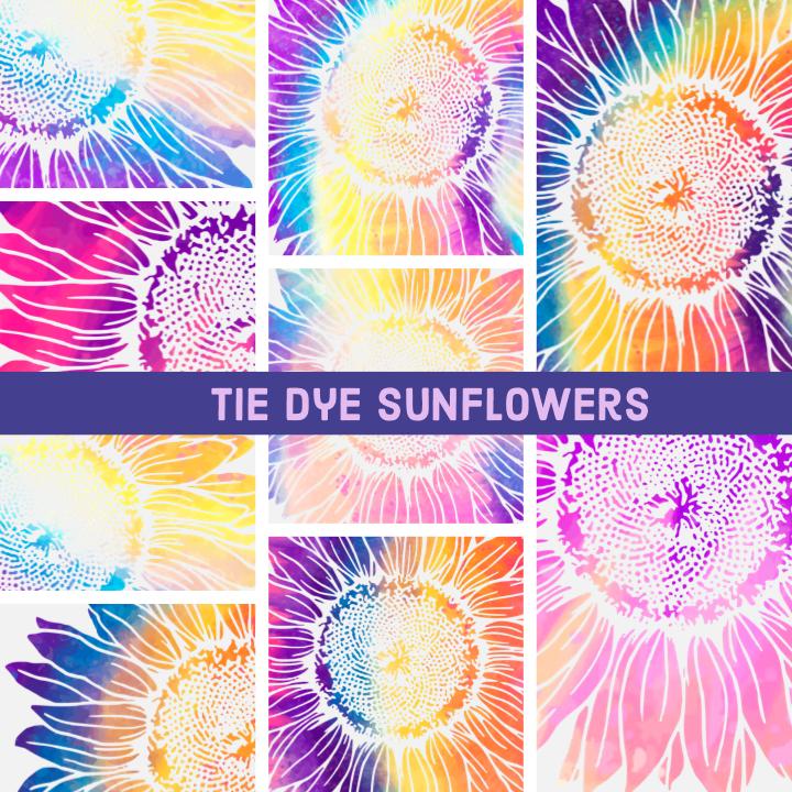 Sunflower Tie Dye Watercolor - PNG Sublimation