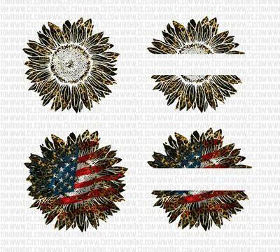 Sunflower - Camo + Leopard +USA SPLIT FLOWERS - PNG Sublimation