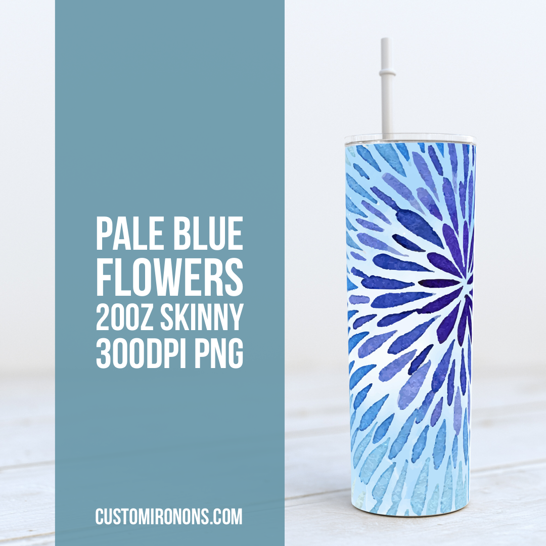 Blue Watercolor Flower 20oz Skinny TUMBLER PNG Sublimation