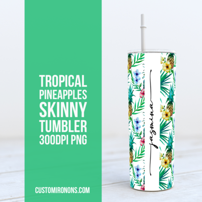 Tropical Pineapples -  20oz Skinny TUMBLER PNG Sublimation