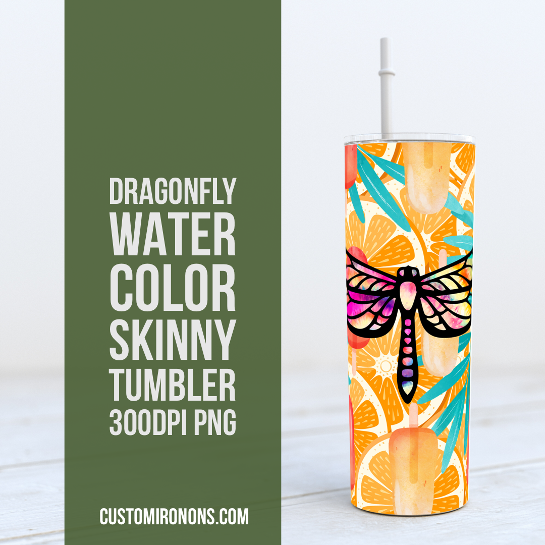 Dragonfly watercolor + Popsicles + Leaves-  20oz Skinny TUMBLER PNG Sublimation