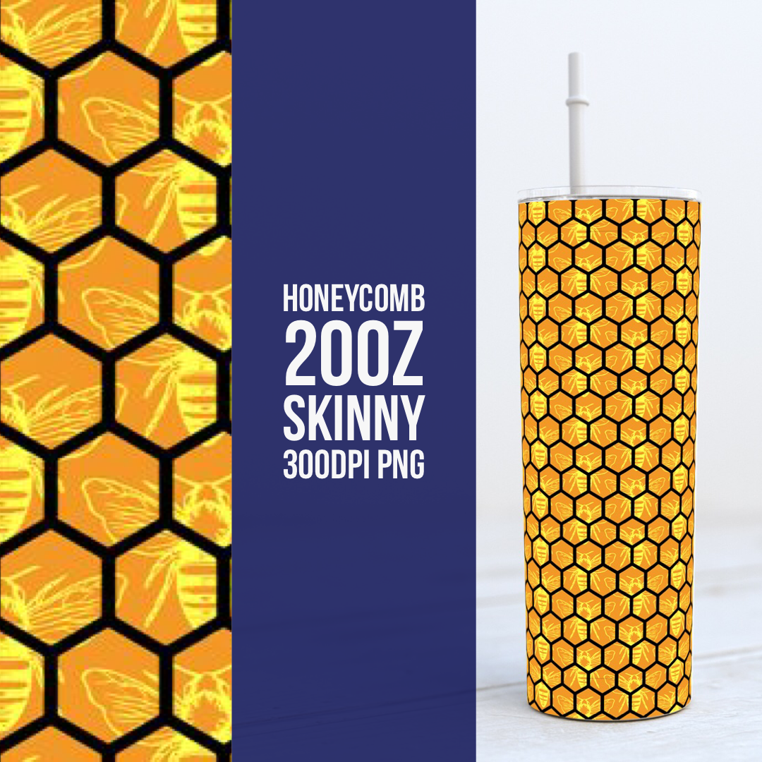 Honeycomb with Bees -  20oz Skinny TUMBLER PNG Sublimation