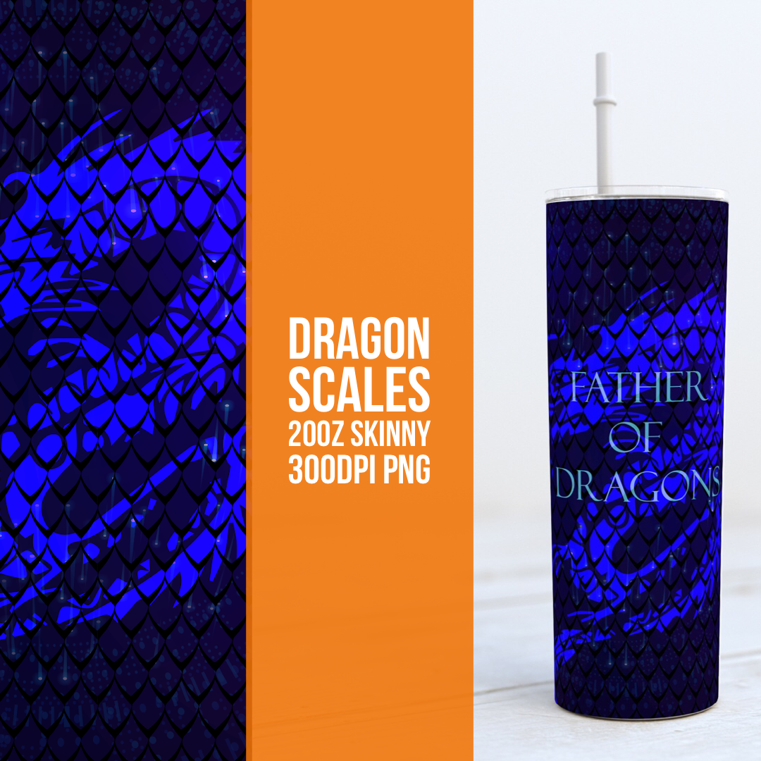 Dragon Scales 20oz Skinny TUMBLER PNG Sublimation