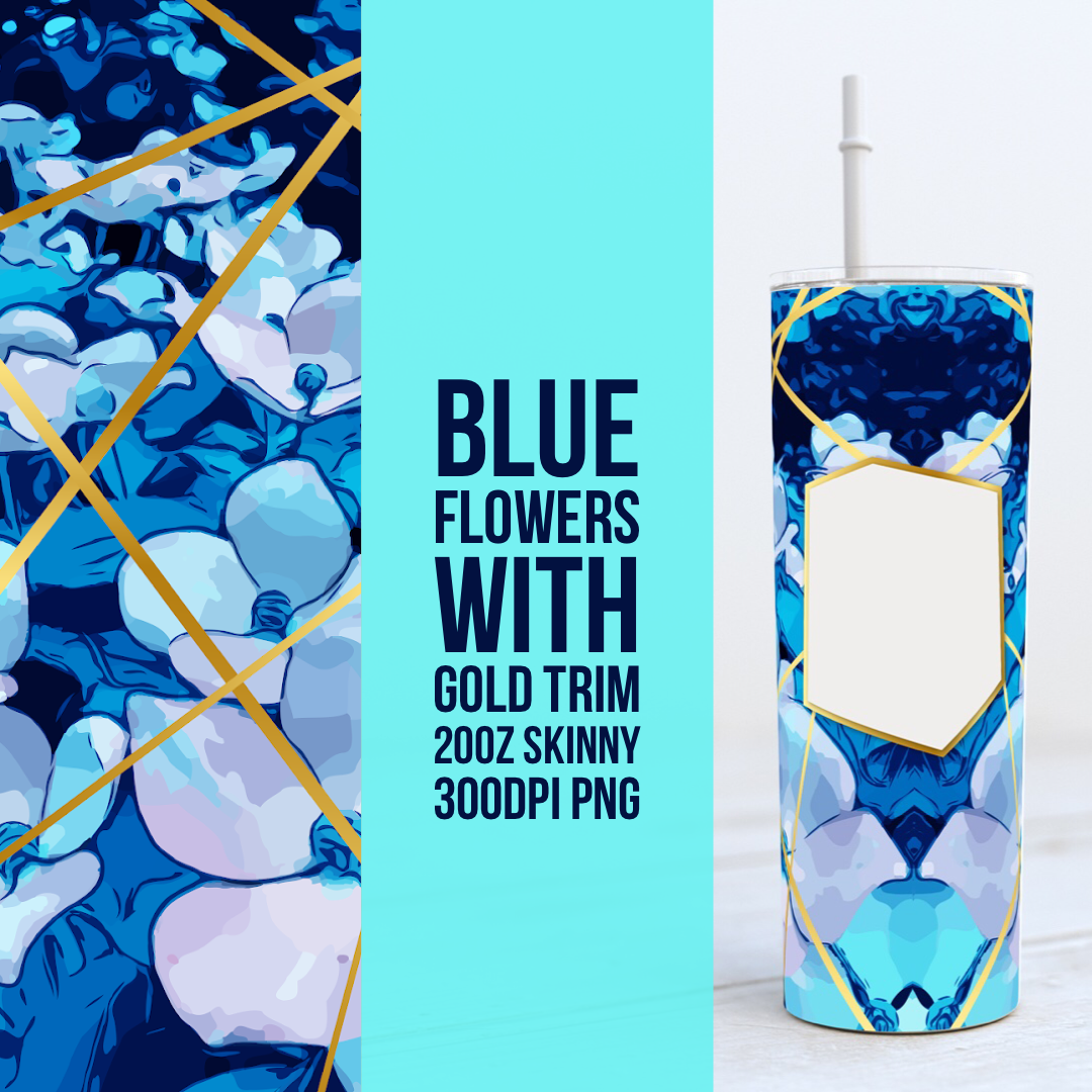 Blue Flowers with Gold accents 20oz Skinny TUMBLER PNG Sublimation
