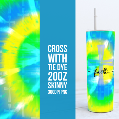 Cross with Tie Dye 20oz Skinny TUMBLER PNG Sublimation
