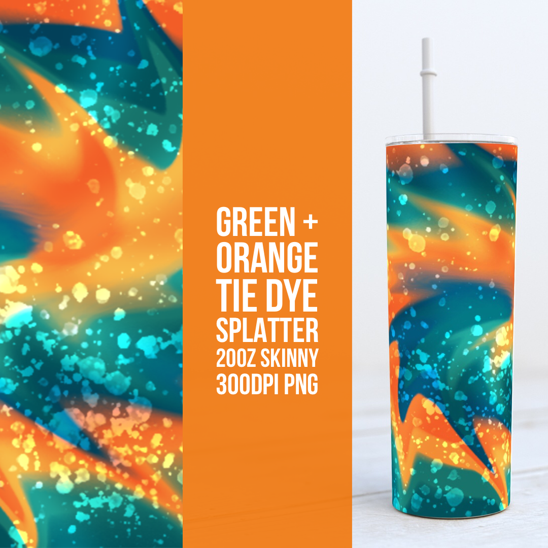 Green + Orange Paint Splatter Tie Dye 20oz Skinny TUMBLER PNG Sublimation
