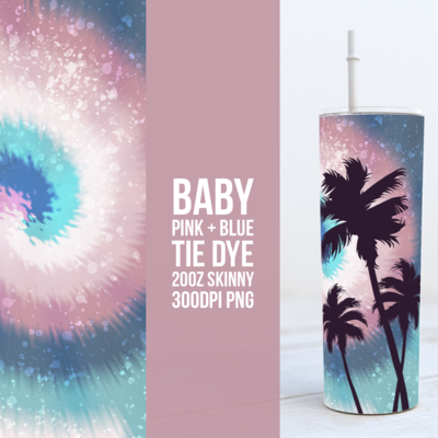 Pink + Blue Paint Splatter Tie Dye 20oz Skinny TUMBLER PNG Sublimation