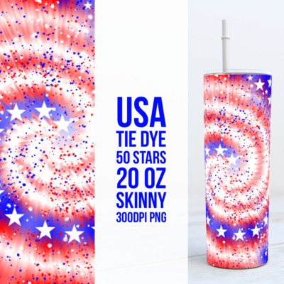 USA America Tie Dye - 20oz Skinny TUMBLER PNG Sublimation