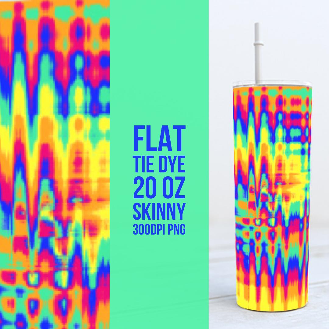 Flat Tie Dye 20oz Skinny TUMBLER PNG Sublimation