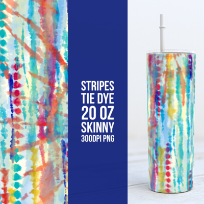 Tie Dye Stripes 20oz Skinny TUMBLER PNG Sublimation