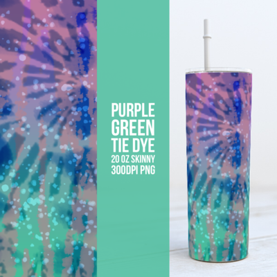 Purple Green Tie Dye-  20oz Skinny TUMBLER PNG Sublimation