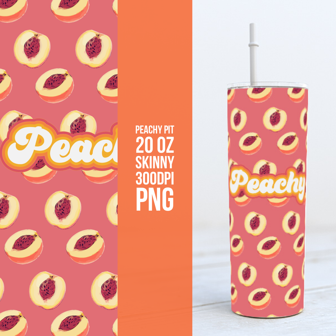 Peachy Pit -  20oz Skinny TUMBLER PNG Sublimation