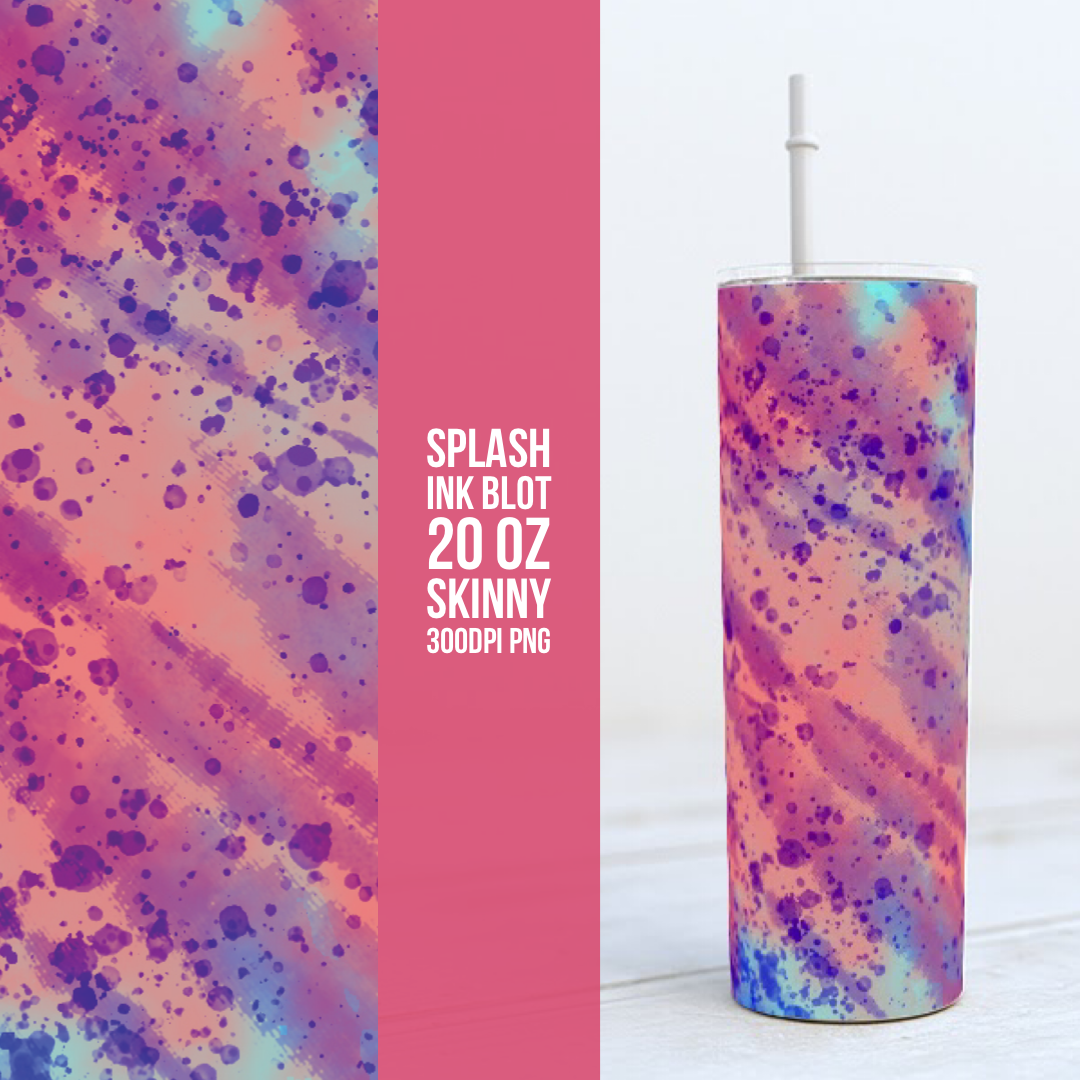 Pink ink Blot -  20oz Skinny TUMBLER PNG Sublimation