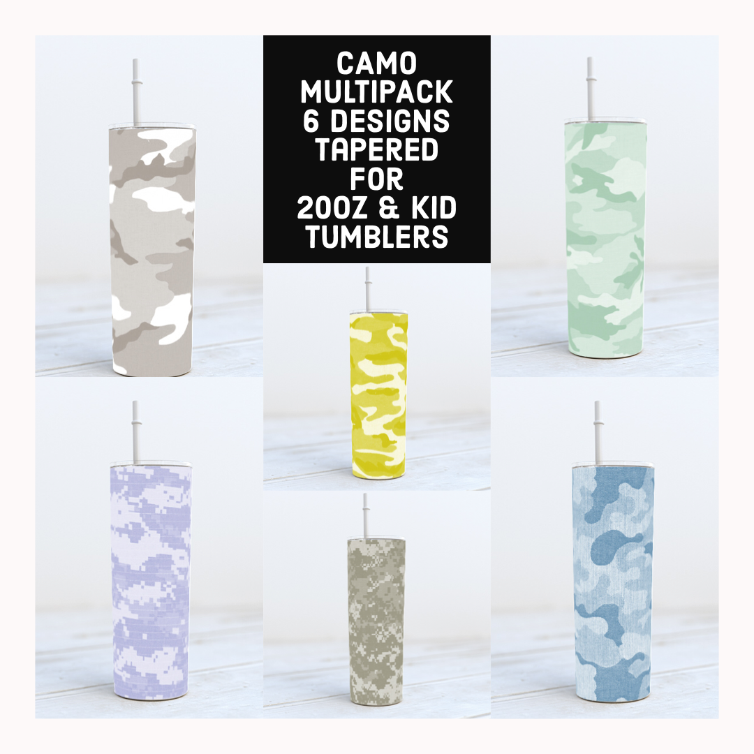 CAMO mulipack-  20oz Skinny TUMBLER PNG Sublimation