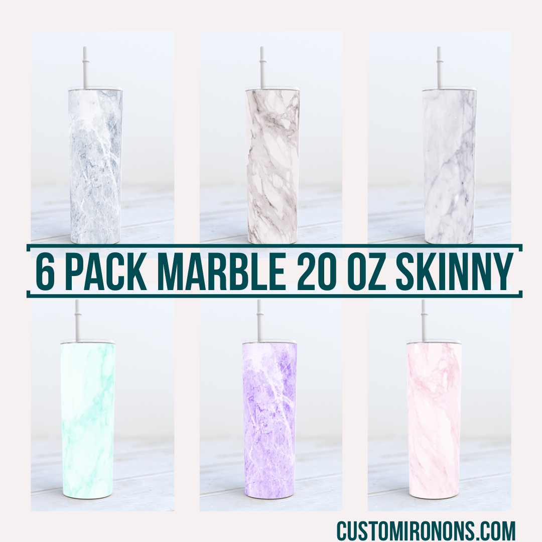 Marble Six Pack -  20oz Skinny TUMBLER PNG Sublimation