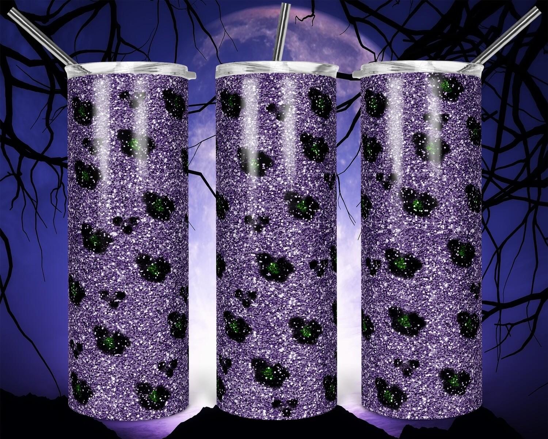 Cheetah Glitter Purple -  20oz Skinny TUMBLER PNG Sublimation