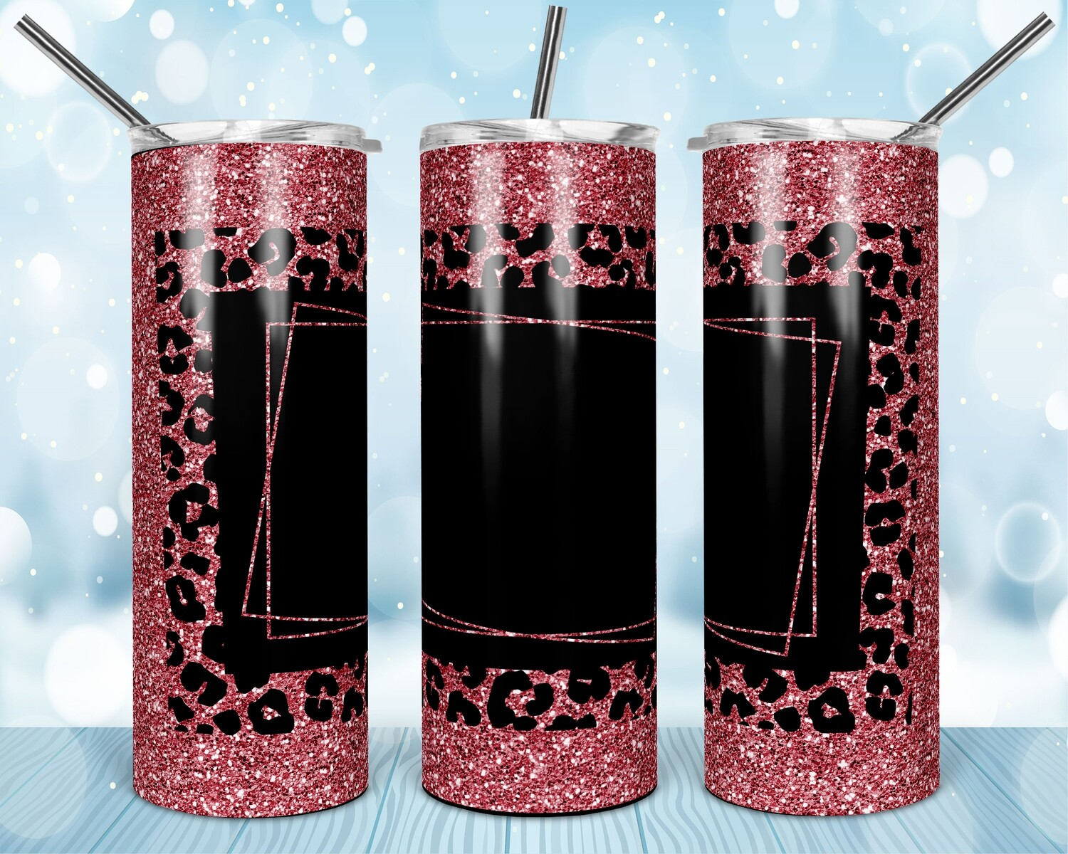 Pink Cheetah 2 versions - Add your own text -  20oz Skinny & Straight TUMBLER PNG Sublimation