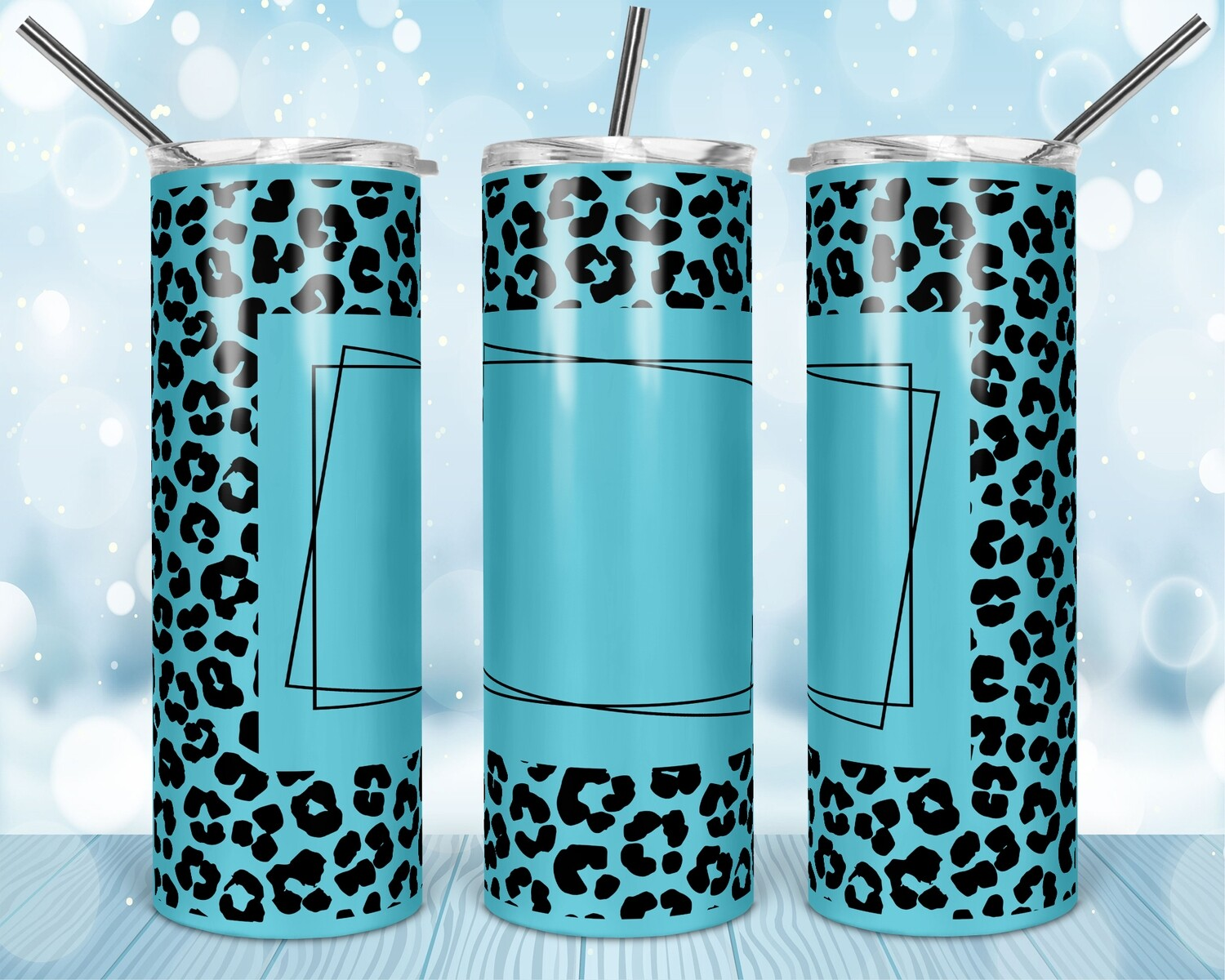 Blue Cheetah Add your own text -  20oz Skinny & Straight TUMBLER PNG Sublimation