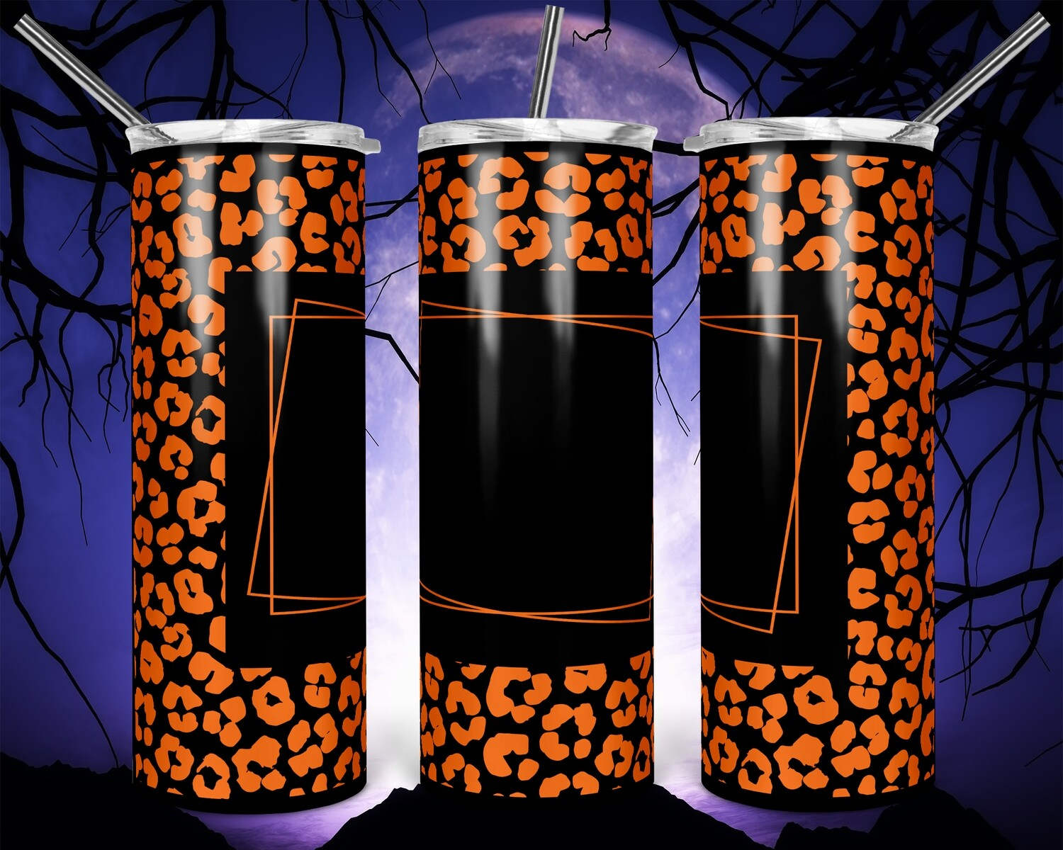 Orange Cheetah Add your own text -  20oz Skinny & Straight TUMBLER PNG Sublimation