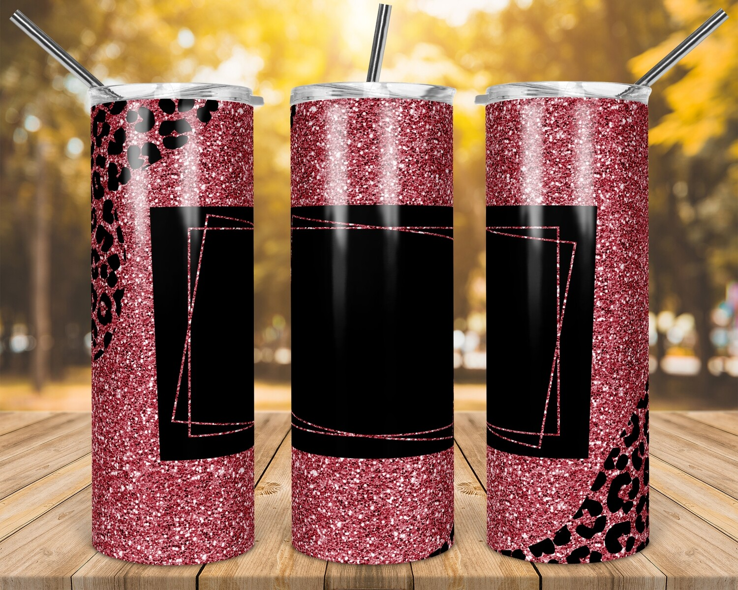Pink Cheetah Accents- Add your own text -  20oz Skinny & Straight TUMBLER PNG Sublimation