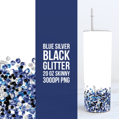Blue Silver Black Glitter - Add your own text -  20oz Skinny & Straight TUMBLER PNG Sublimation
