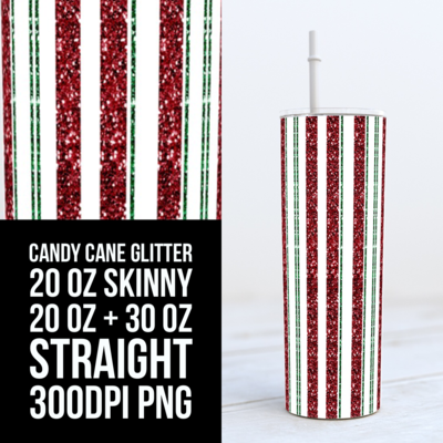 Peppermint with Green Accents All in Glitter - Add your own text -  20oz Skinny & Straight TUMBLER PNG Sublimation