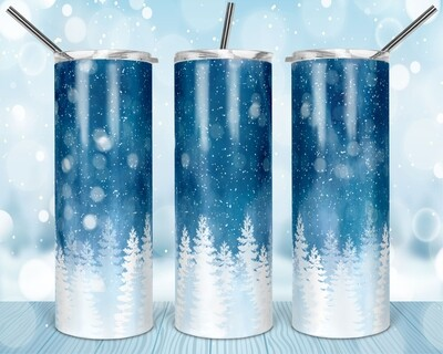 Icy Blue Snow Mountains - Cold as Fuck - Add your own text -  20oz Skinny & Straight TUMBLERS PNG Sublimation