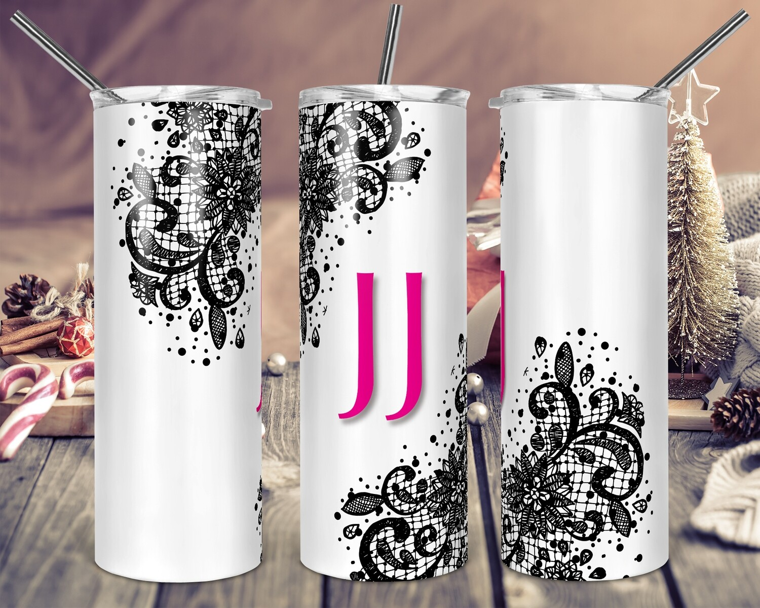 Pretty Lace Accents - Add your own text -  20oz Skinny & Straight TUMBLERS PNG Sublimation