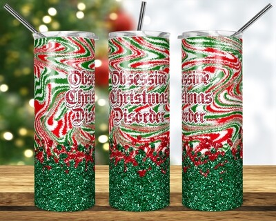 OCD Christmas -  20oz & 30oz Tapered + Square - TUMBLER PNG Sublimation
