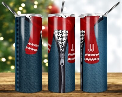 Zipper Jeans with Knitted Scarf  Add a name -  20oz & 30oz Tapered + Square - TUMBLER PNG Sublimation