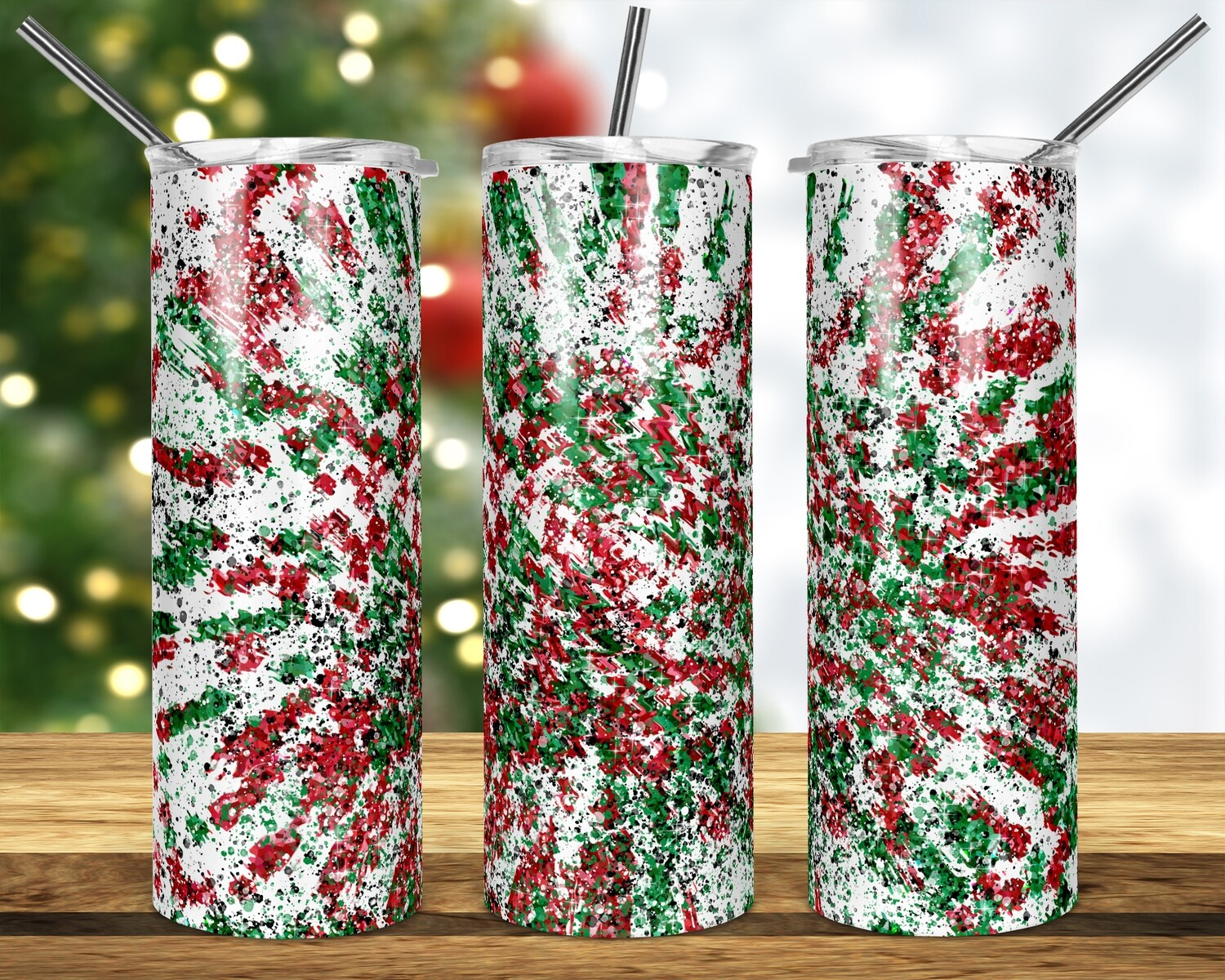 Candy Cane Splash - Add a name -  20oz & 30oz Tapered + Square - TUMBLER PNG Sublimation