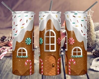 Gingerbread House -  20oz & 30oz Skinny TUMBLER PNG Sublimation