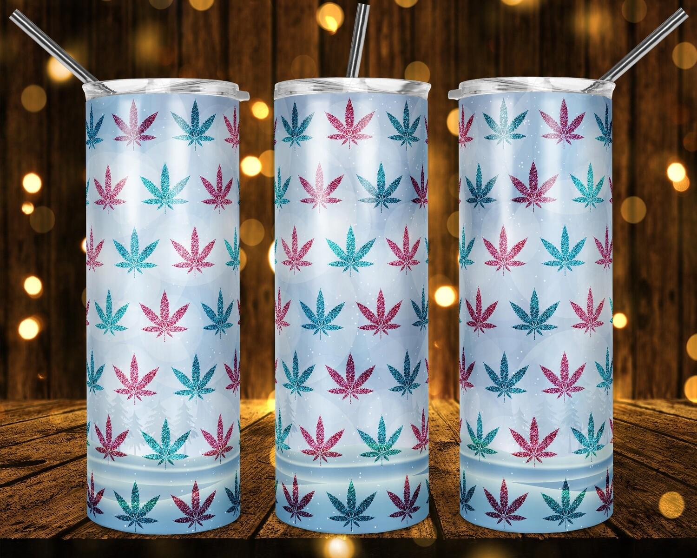 Pretty Snowy Weed Cannabis Marijuana Leaf -  20oz & 30 Skinny TUMBLER PNG Sublimation