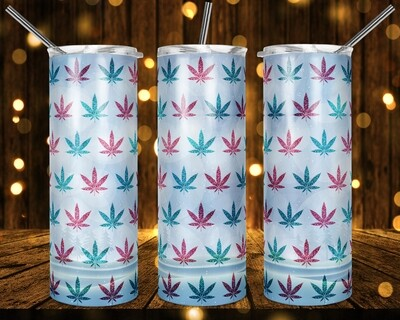 Pretty Snowy Weed Cannabis Marijuana Leaf -  20oz & 30 Skinny TUMBLER PNG Sublimation