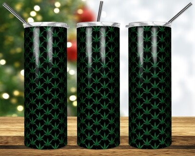 Green Sparkle Weed Cannabis Marijuana Leaf -  20oz & 30 Skinny TUMBLER PNG Sublimation