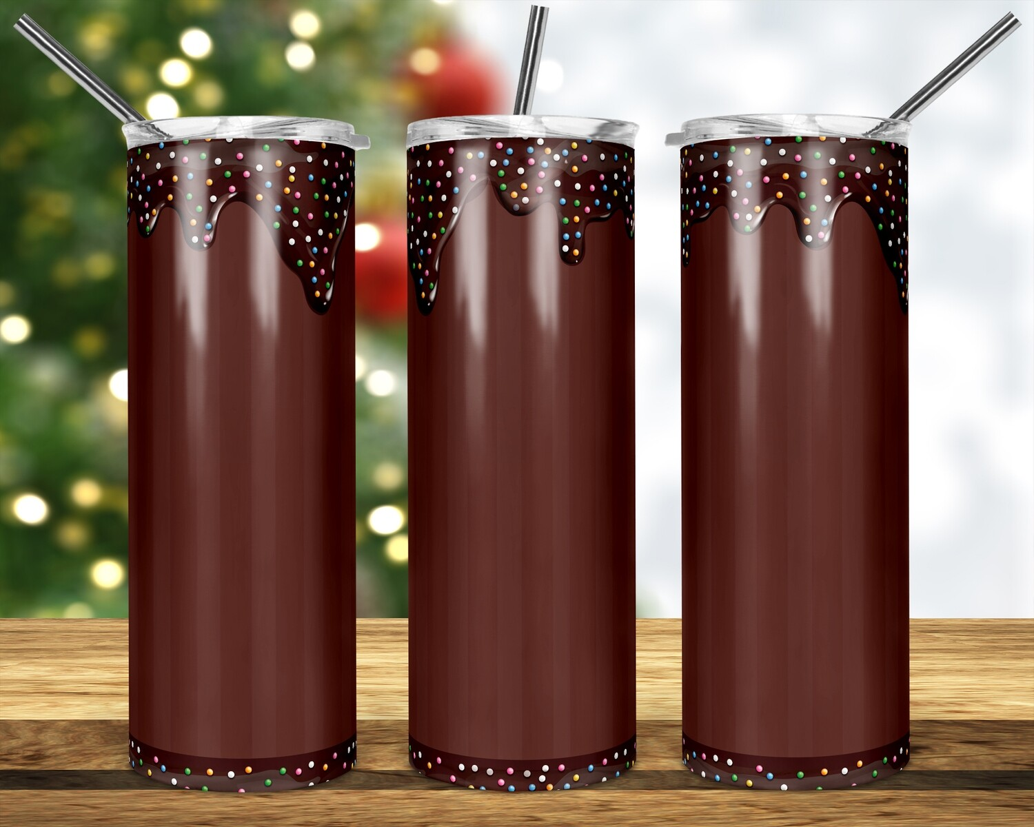 Chocolate Candy Sprinkle - Add your own image -  20oz & 30oz Tapered + Square - TUMBLER PNG Sublimation