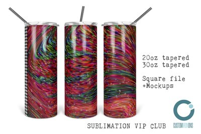 Wavy Christmas Yarn  20oz & 30oz Skinny TUMBLER PNG Sublimation