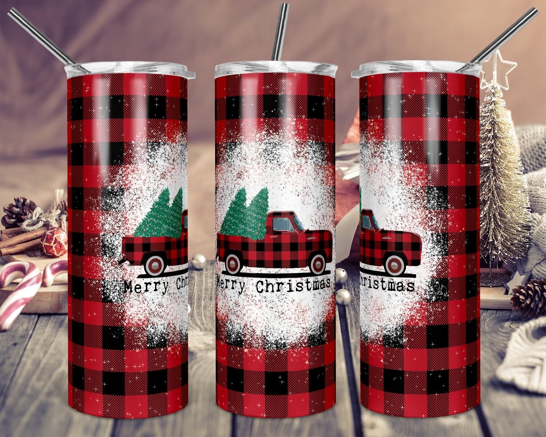 Red Truck Buffalo Plaid Merry Christmas - 20oz & 30oz Skinny TUMBLER PNG Sublimation