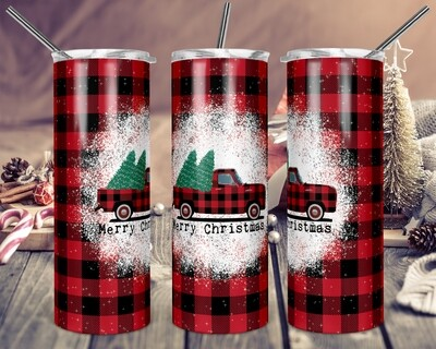 Red Truck Buffalo Plaid Merry Christmas - 20oz & 30oz Skinny TUMBLER PNG Sublimation