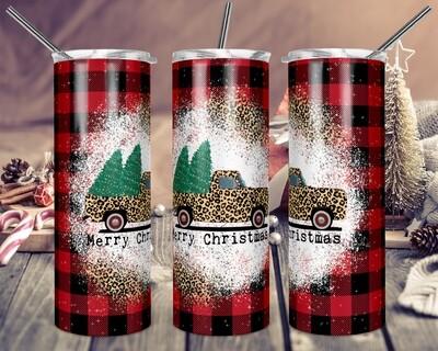Cheetah Truck Buffalo Plaid Merry Christmas - 20oz & 30oz Skinny TUMBLER PNG Sublimation