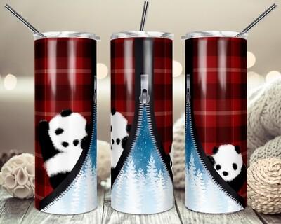 Cute Panda's - Buffalo Plaid Winter Zipper - 20oz & 30oz Skinny TUMBLER PNG Sublimation
