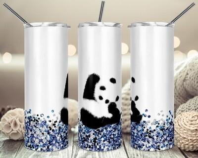Waving Panda on Blue Glitter- 20oz & 30oz Skinny TUMBLER PNG Sublimation